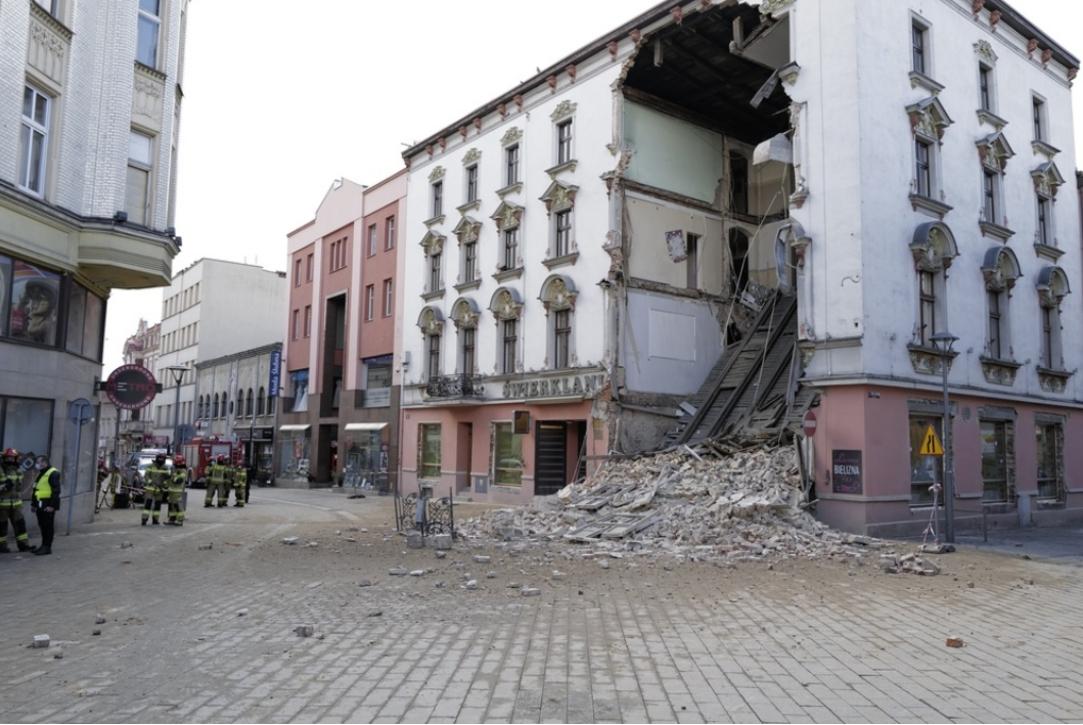 Zawaliła się ściana kamienicy w Rybniku