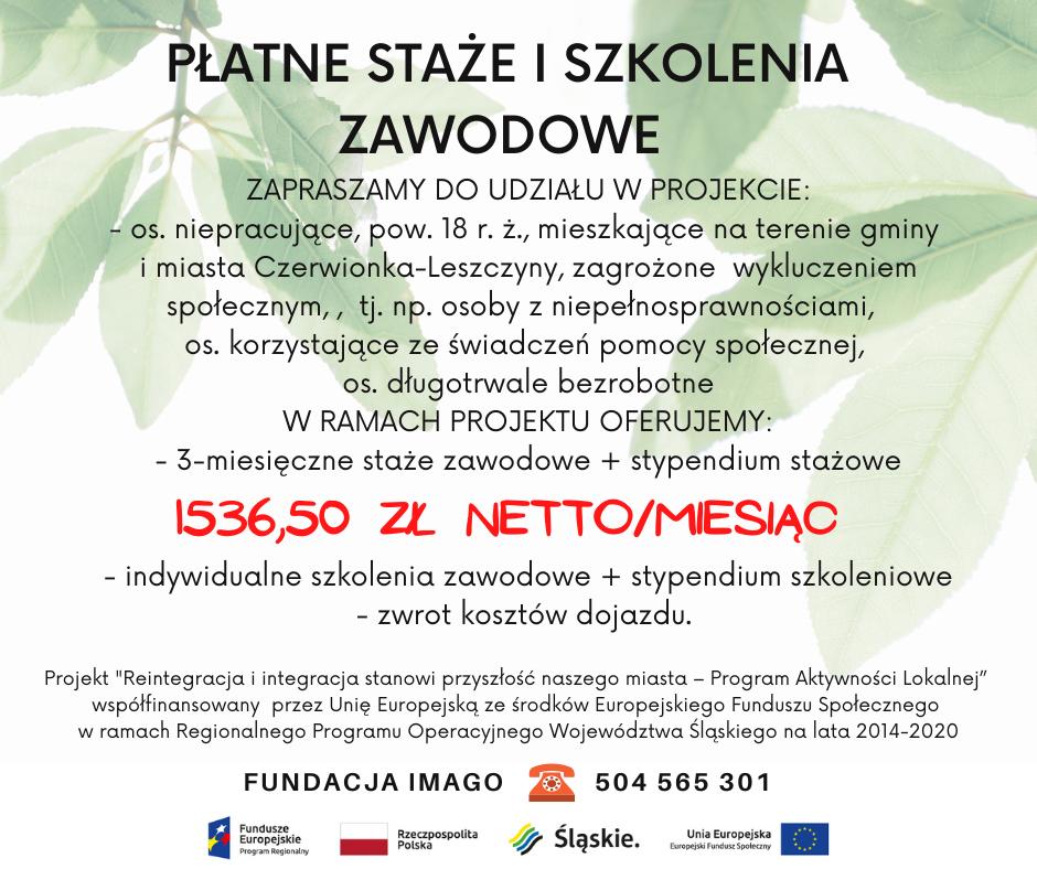 Płatne staże i szkolenia dla bezrobotnych z Czerwionki-Leszczyn